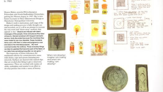 'Firing Thoughts' catalogue page - Sharon Blakey