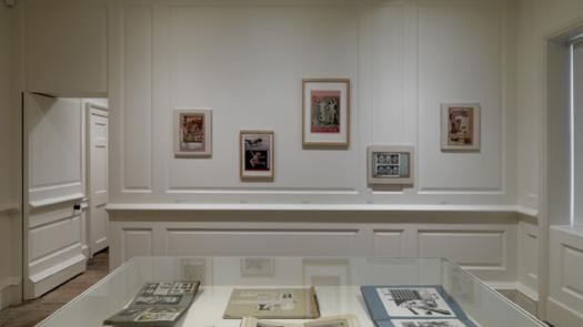 Installation view showing scrapbooks and collages by Eduardo Paolozzi (1924-2005) - David Brittain