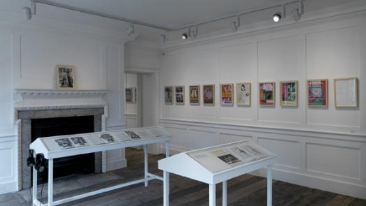 Installation view showing prints and issues of Ambit magazine (in cases) - David Brittain
