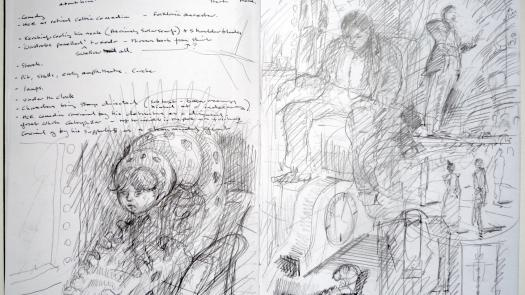 sketchbook notes for Finnegans Wake p.33 - Clinton Cahill