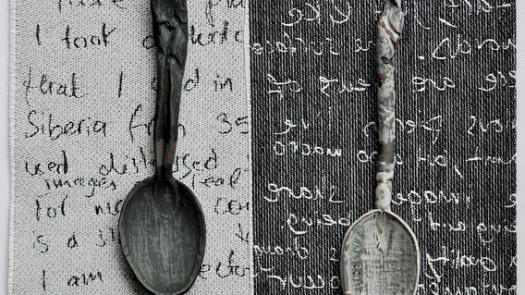 Ceramic spoons on woven cloth text - Sharon Blakey