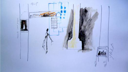 Drawings for a multi-media touring theatre set