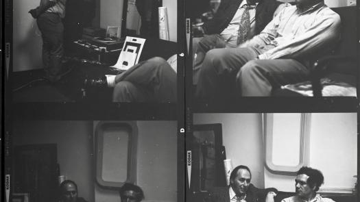 Eduardo Paolozzi and JG Ballard chat in an unidentifed photograph - David Brittain