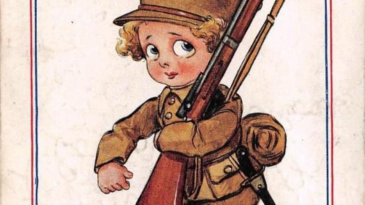 Postcard representing a WW1 a boy soldier. - Stephen Dixon