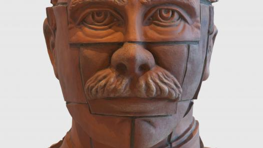 Terracotta portrait bust, Zonnebeke clay. - Stephen Dixon
