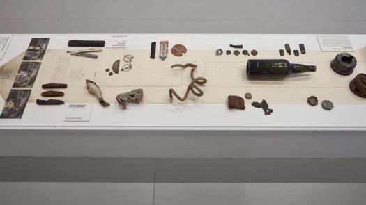Excavated artefacts from Passchendaele battlefield site.