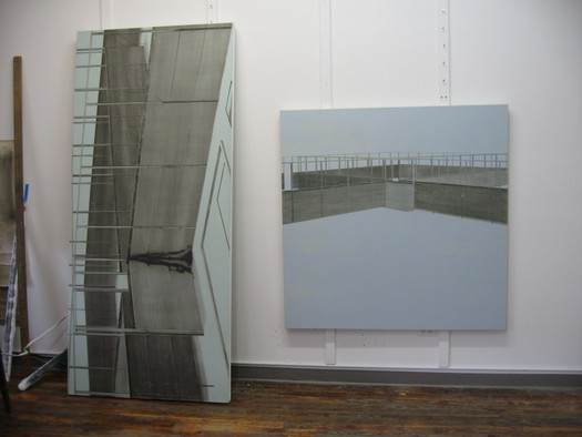 Gilad Efrat's studio in New York (with paintings of 'Ansar', 2007