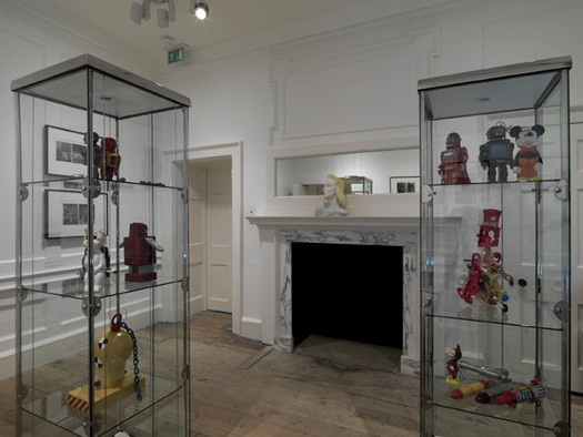 Installation view showing artefacts from the artist's collection