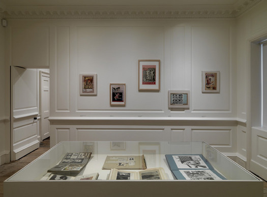 Installation view showing scrapbooks and collages by Eduardo Paolozzi (1924-2005)
