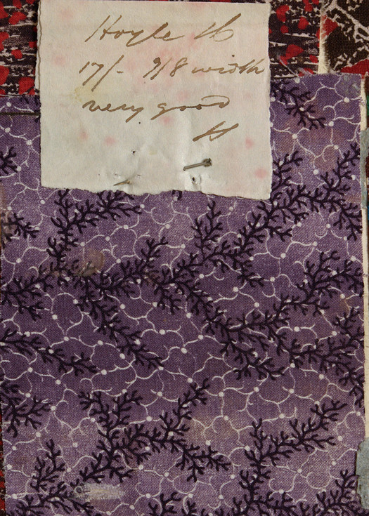 Hoyle's purple print from a pattern book of the late 1830s