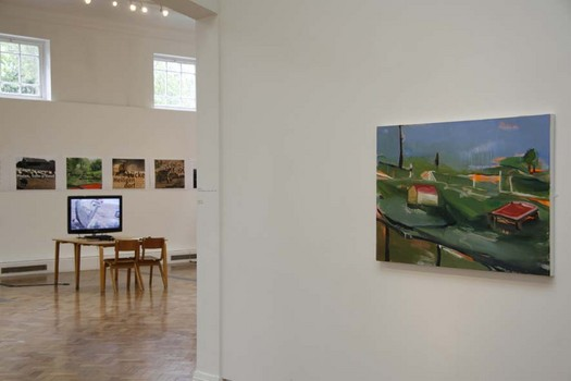 Installation view of Always Greener Exhibition at PM Gallery featuring work by Emily Cole