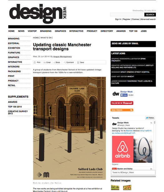 Manchester City Library Transport Project: Design Week press
