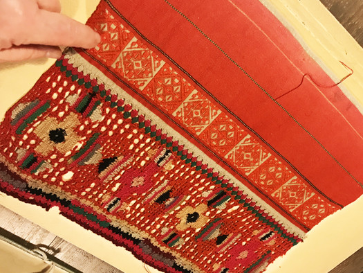 Textile sample of traditional patterns