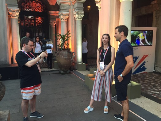 BBC's Gethin Jones interviewing Connected Explorers Keith and Kim, Rio 2016