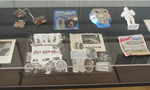 Detail of display case containing items from the Paolozzi Studio