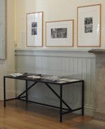 Installation view showing display cases and prints