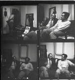 Eduardo Paolozzi and JG Ballard chat in an unidentifed photograph