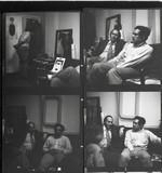 Eduardo Paolozzi and JG Ballard chat in an unidentifed photograph