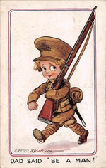 Postcard representing a WW1 a boy soldier.