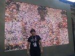 The Digital Tapestry in situ at Great British House, Parque Lage, Rio 2016